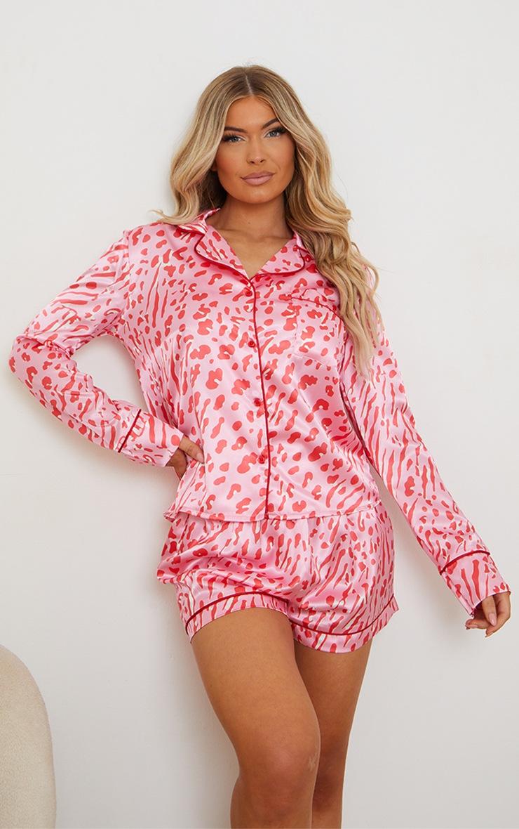Pink Bright Leopard Print Satin Long Sleeve Shirt And Shorts PJ Set 3