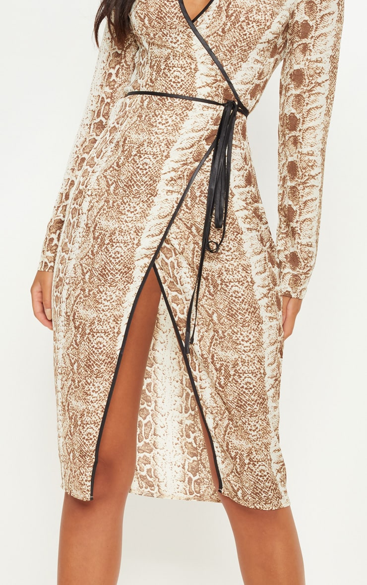 Tan Snake Print Binding Detail Wrap Midi Dress 5