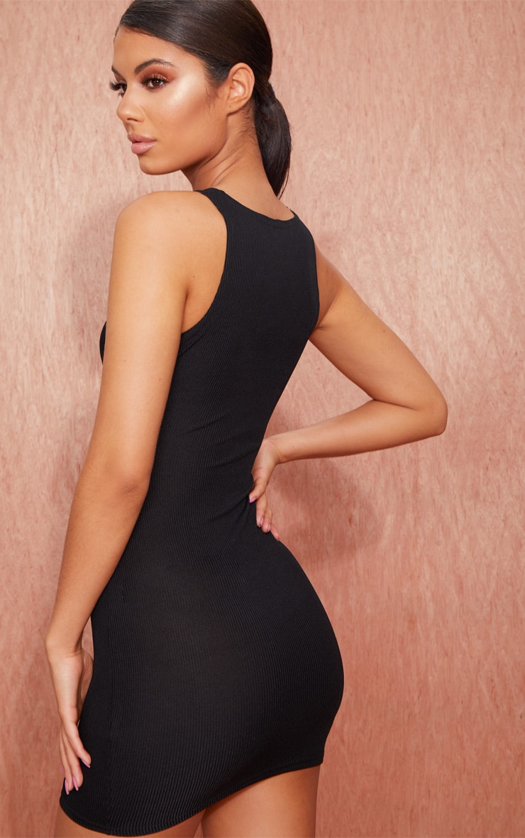 Basic Black Ribbed Underbust Detail Bodycon Dress 2