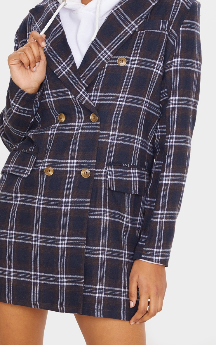 Chocolate Check Print Button Front Detail Oversized Blazer Dress 4
