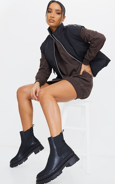 Black Chunky Welly Style Chelsea Boots
