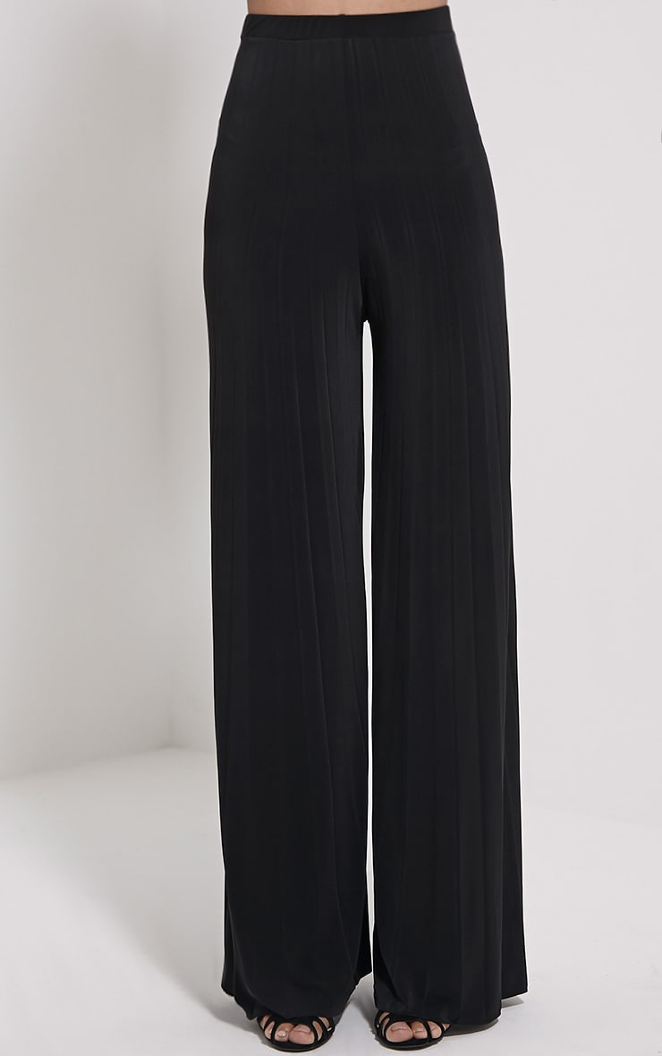 Samantha Black Slinky Pleated Wide Leg Trousers 2