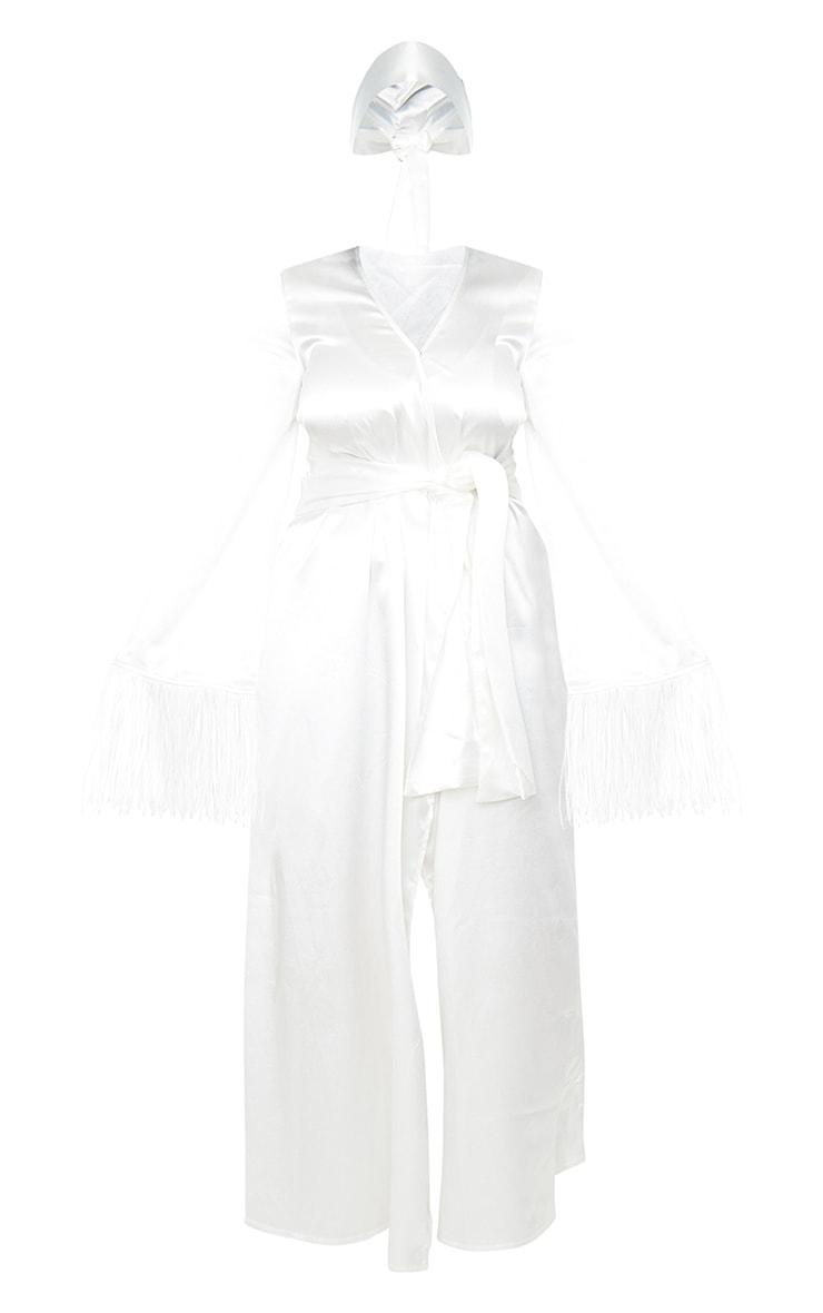 White Satin Pleated Belt Fringe Kimono Dress 5