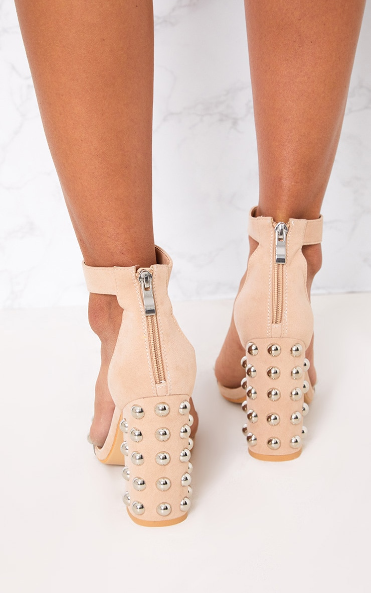 Nude Round Studded Faux Suede Block Heels 3
