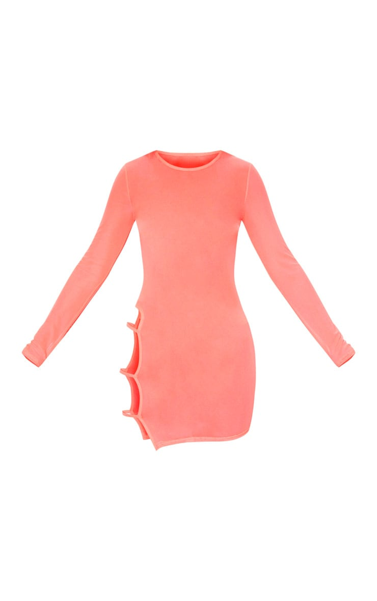 Neon Coral Cut Out Thigh Mesh Beach Dress 6