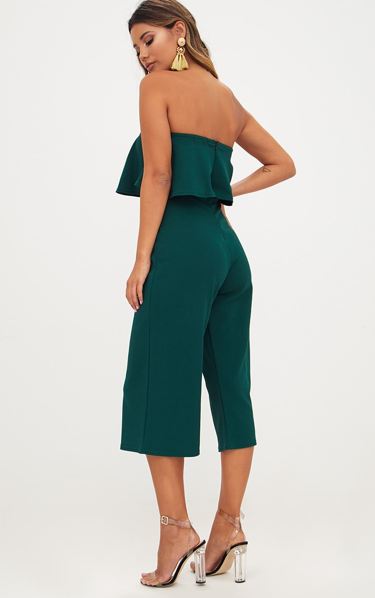 Emerald Green Bardot Double Layer Culotte Jumpsuit 2