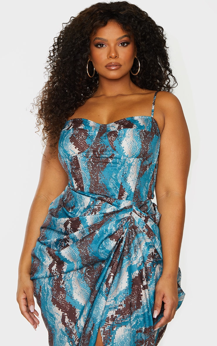 Plus Teal Snake Print Structured Corset Top 1