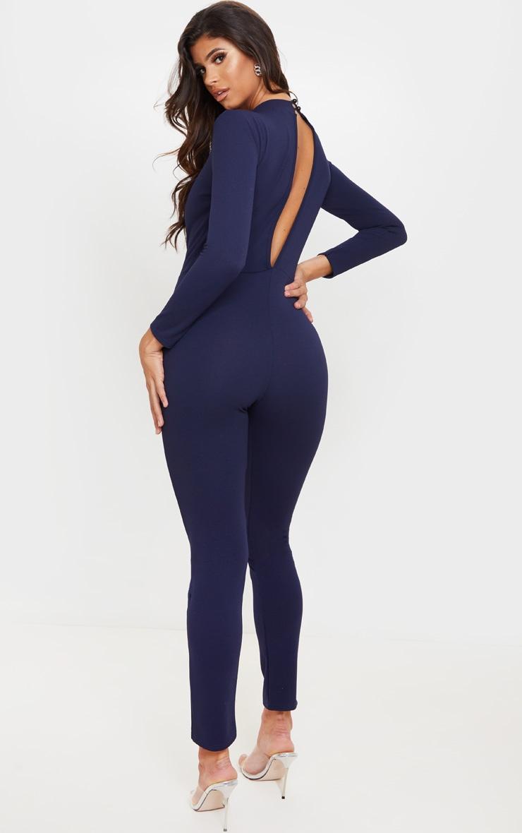Midnight Blue High Neck Keyhole Long Sleeve Jumpsuit 3
