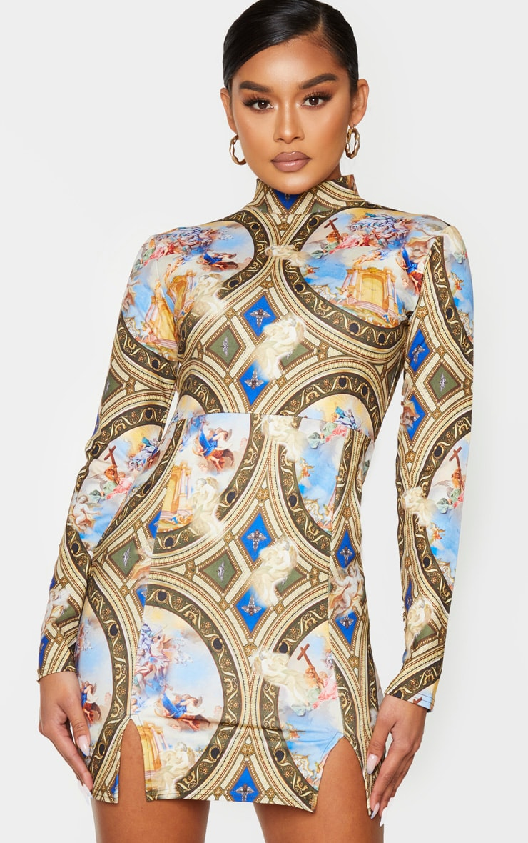 Multi Renaissance Print High Neck Long Sleeve Split Hem Bodycon Dress 1