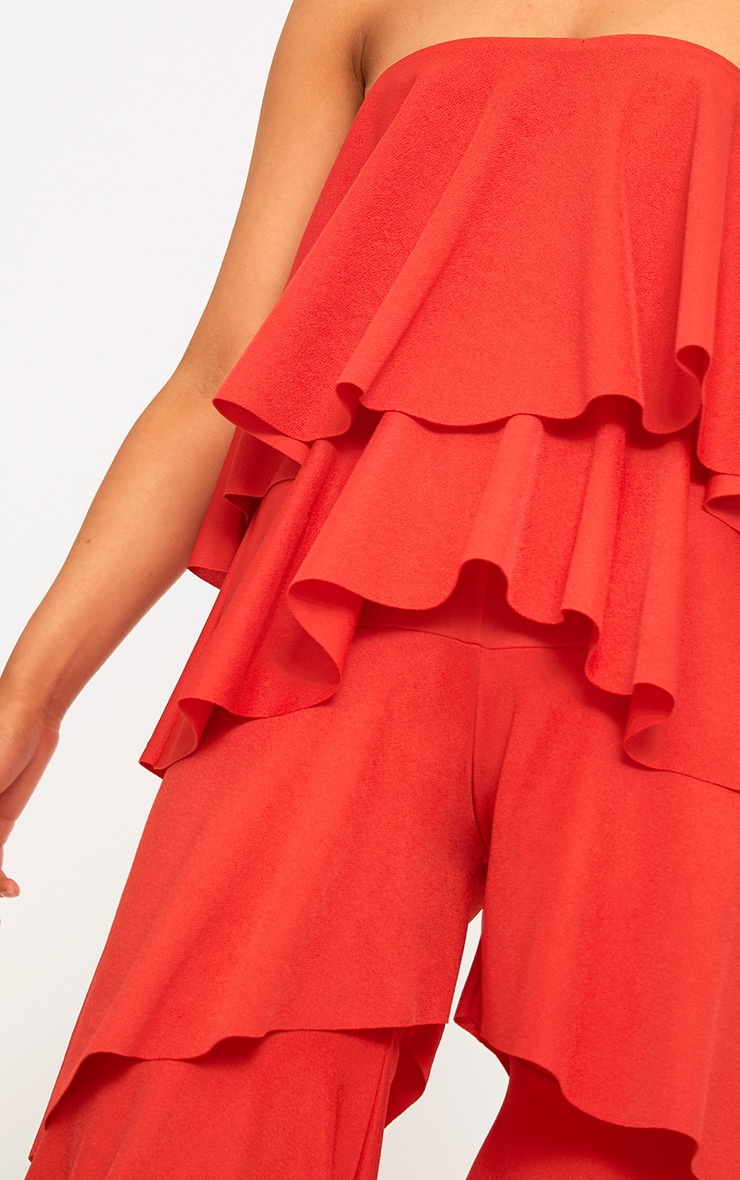 Red Bardot Frill Layer Detail Jumpsuit 5