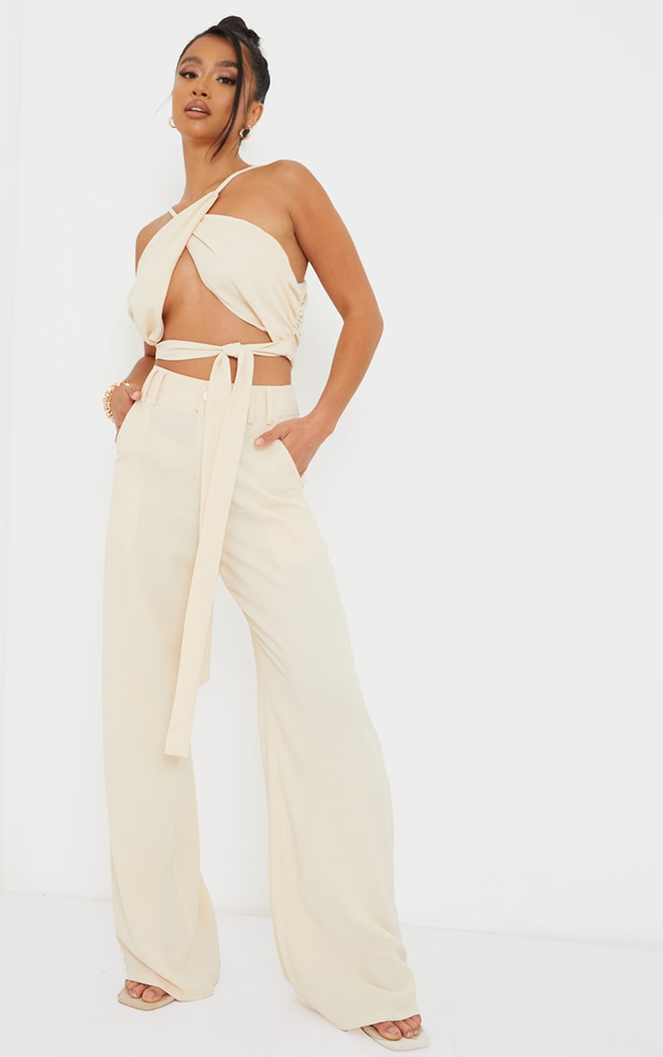 Petite Cream High Waisted Pocket Detail Trousers 1