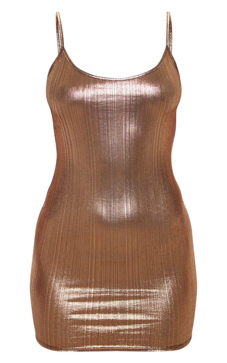 Rose Gold Metallic Strappy Bodycon Dress 3