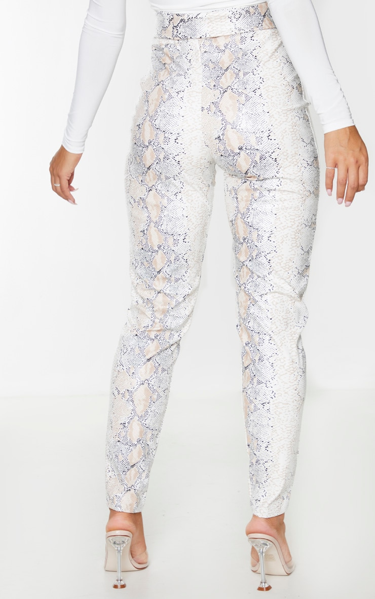 White Snake Faux Leather Belt Detail Pants 3