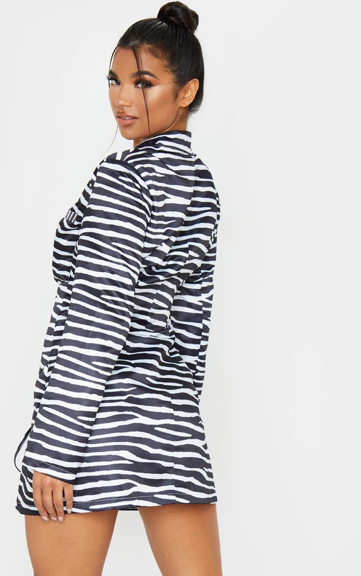 Black Zebra Print Woven Corset Waist Blazer Dress 2