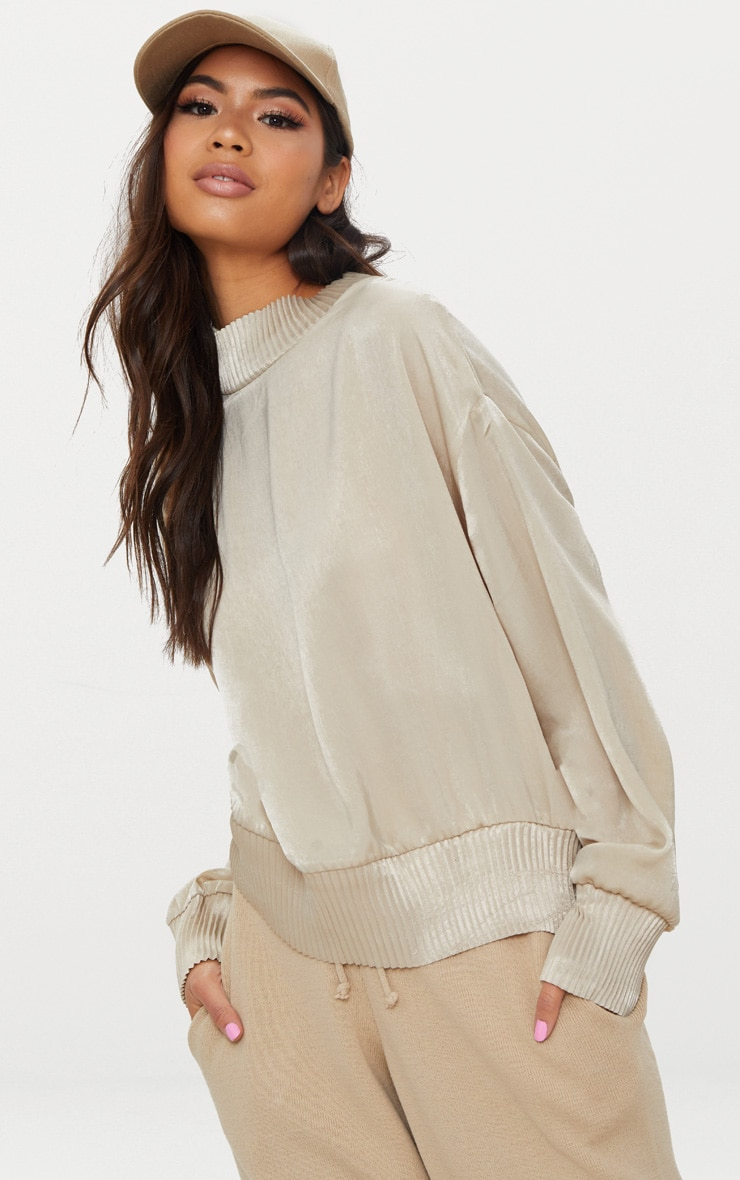 Stone Satin Plisse Trim Sweater