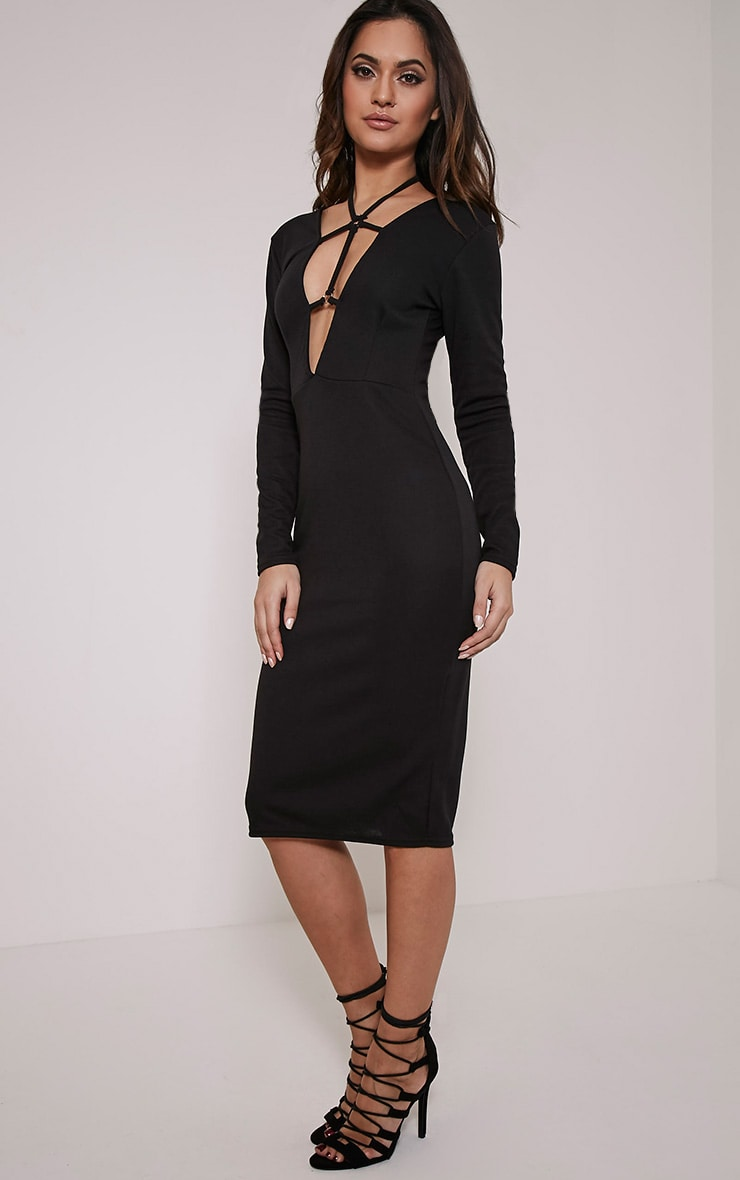 Rudi Black Harness Midi Dress 5