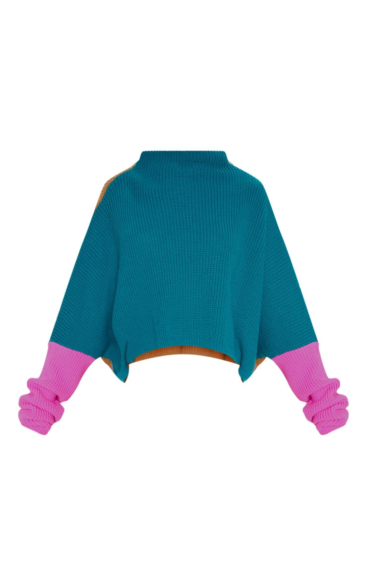 Teal Oversized Colour Block Jumper 3