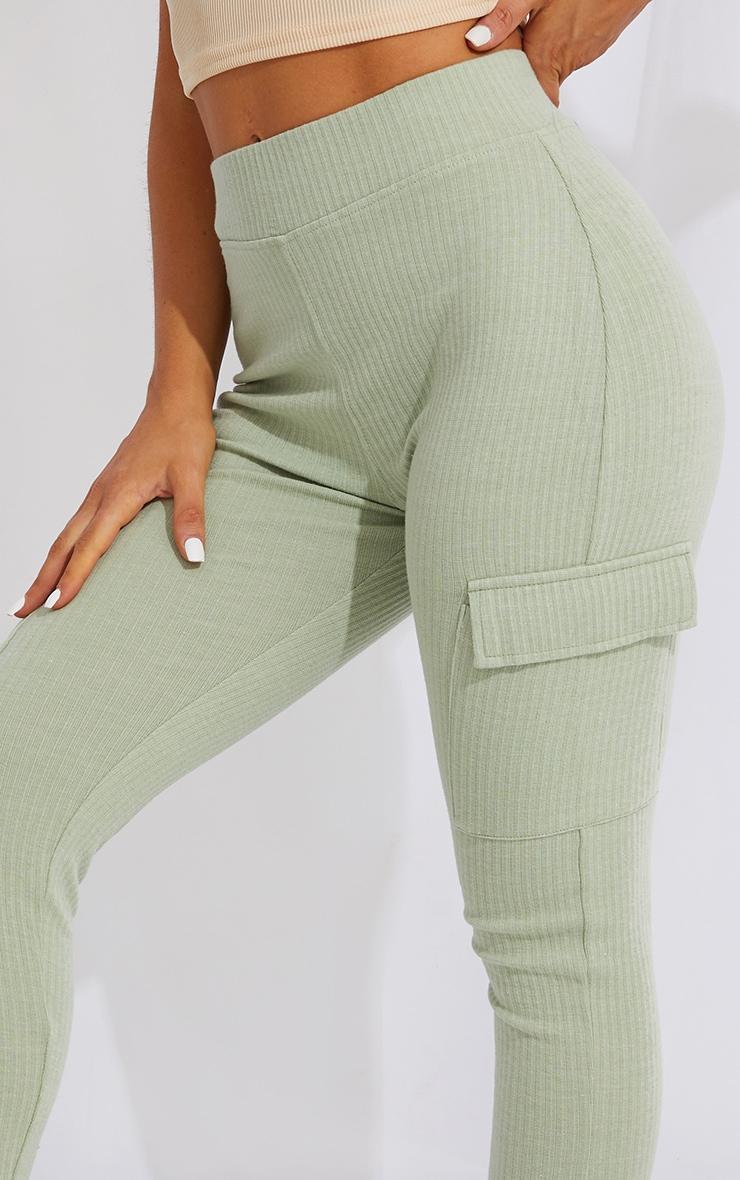 Sage Green Pocket Detail Heavy Ribbed Leggings 4
