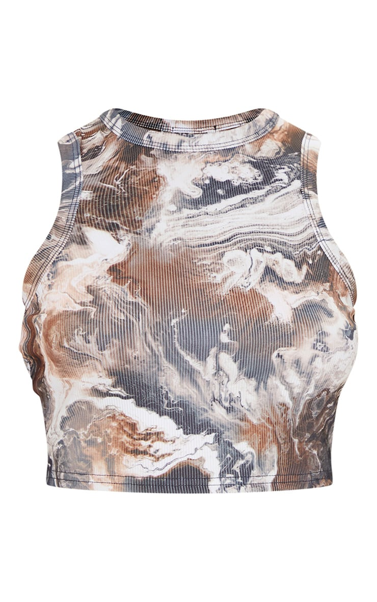 Brown Abstract Marble Print Rib Racer Vest 6
