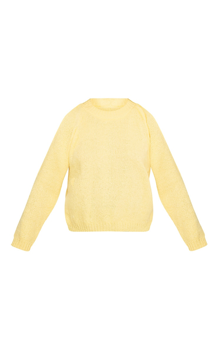 Aingeal Yellow Cropped Cold Shoulder Knitted Jumper 3