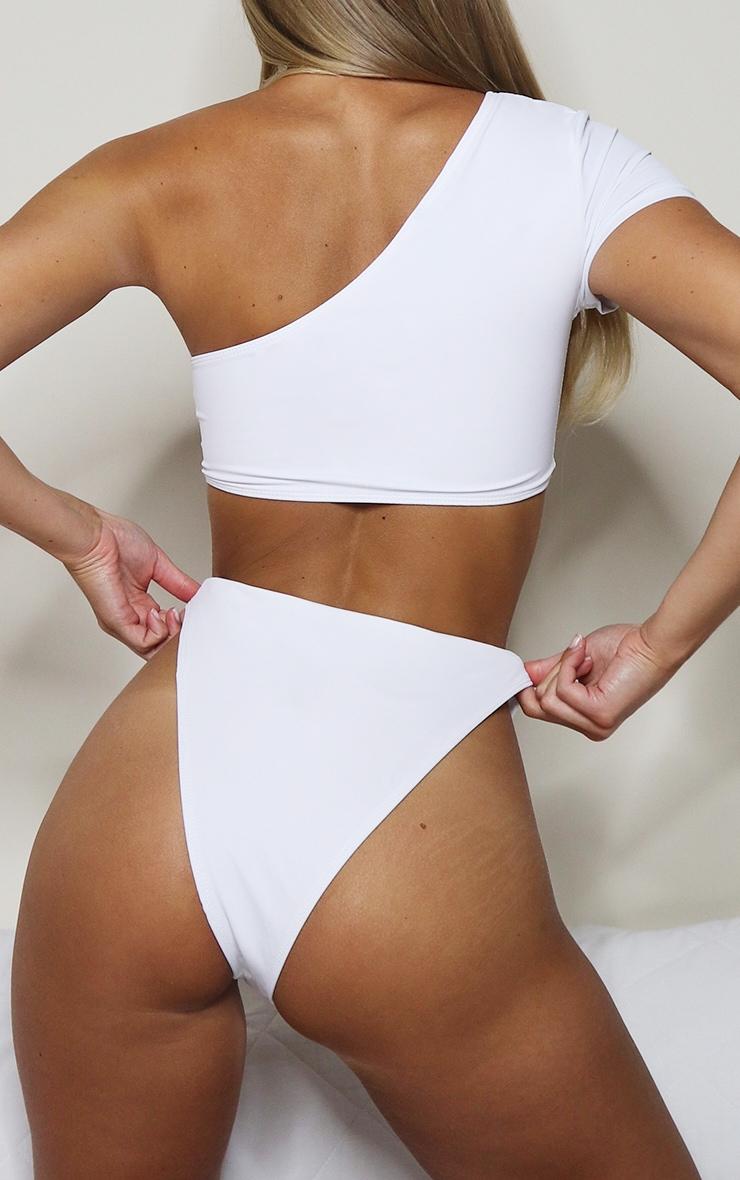 White High Leg Cheeky Bikini Bottoms 5