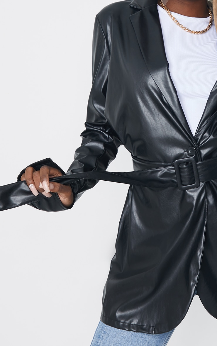 Tall Black Faux Leather Belted Split Cuff Belted Blazer 4