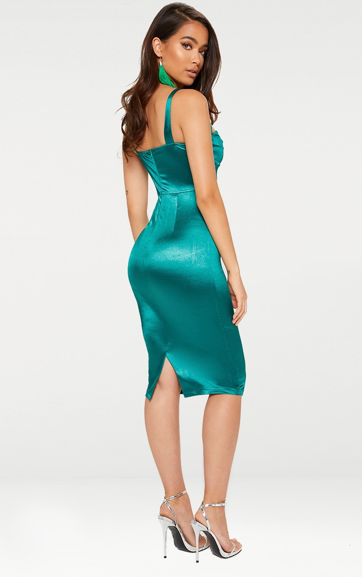 Emerald Green Strappy Folded Detail Midi Dress  2