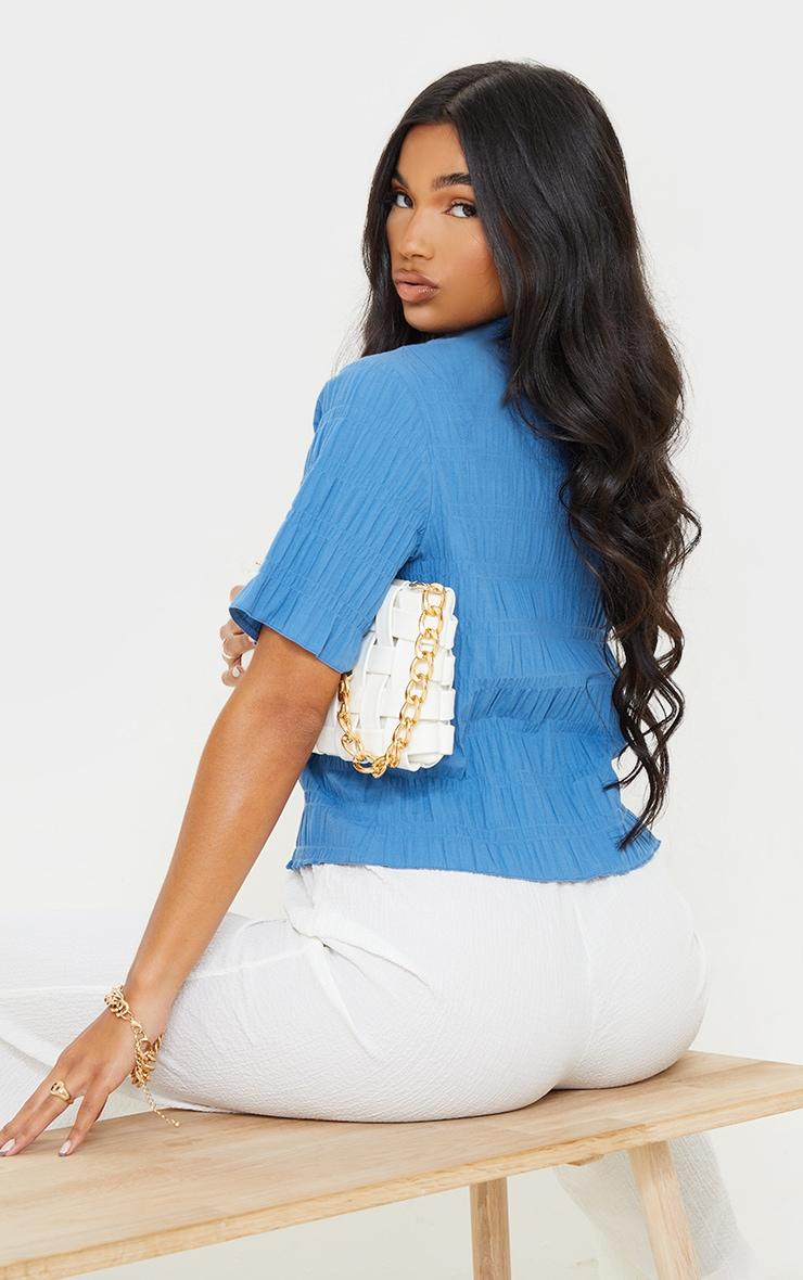 Blue Shirred Short Sleeve Shirt 2