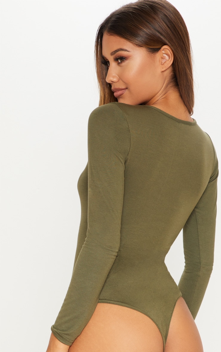 Basic Khaki Crew Neck Long Sleeve Bodysuit 7