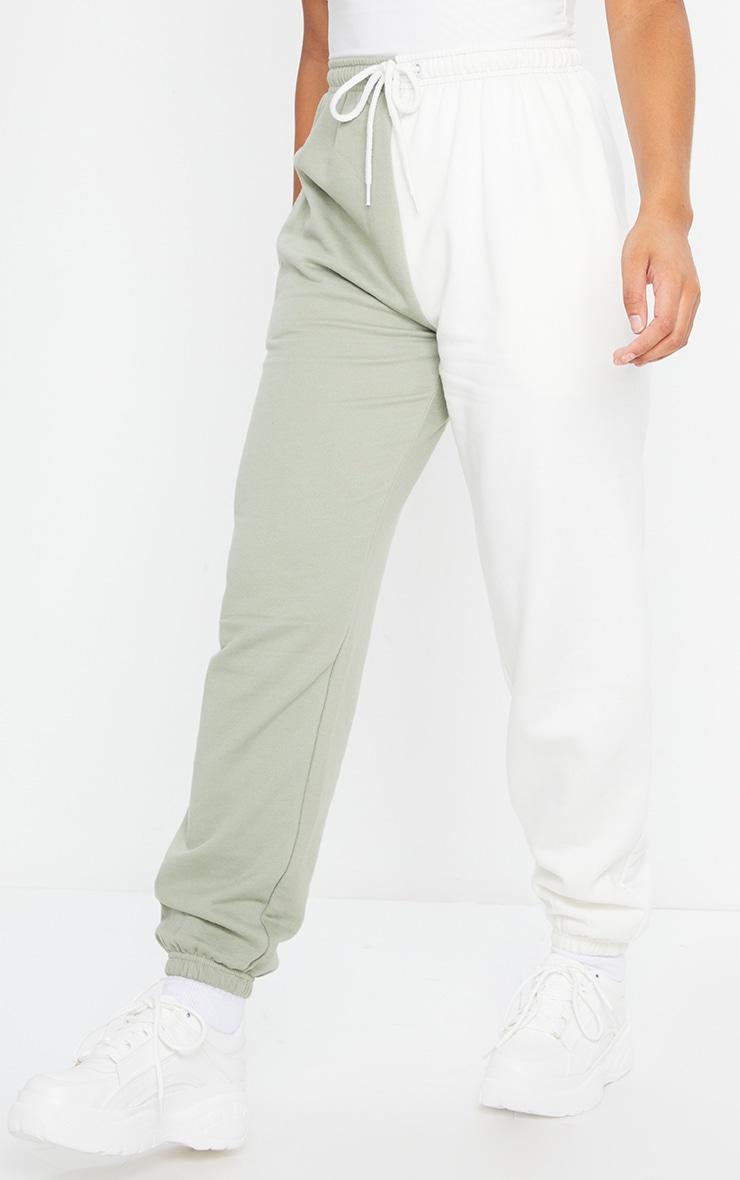 Cream Contrast Leg Joggers 2