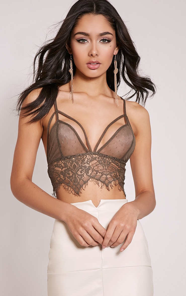 Heather Khaki Sheer Lace Strap Detail Bralet 1