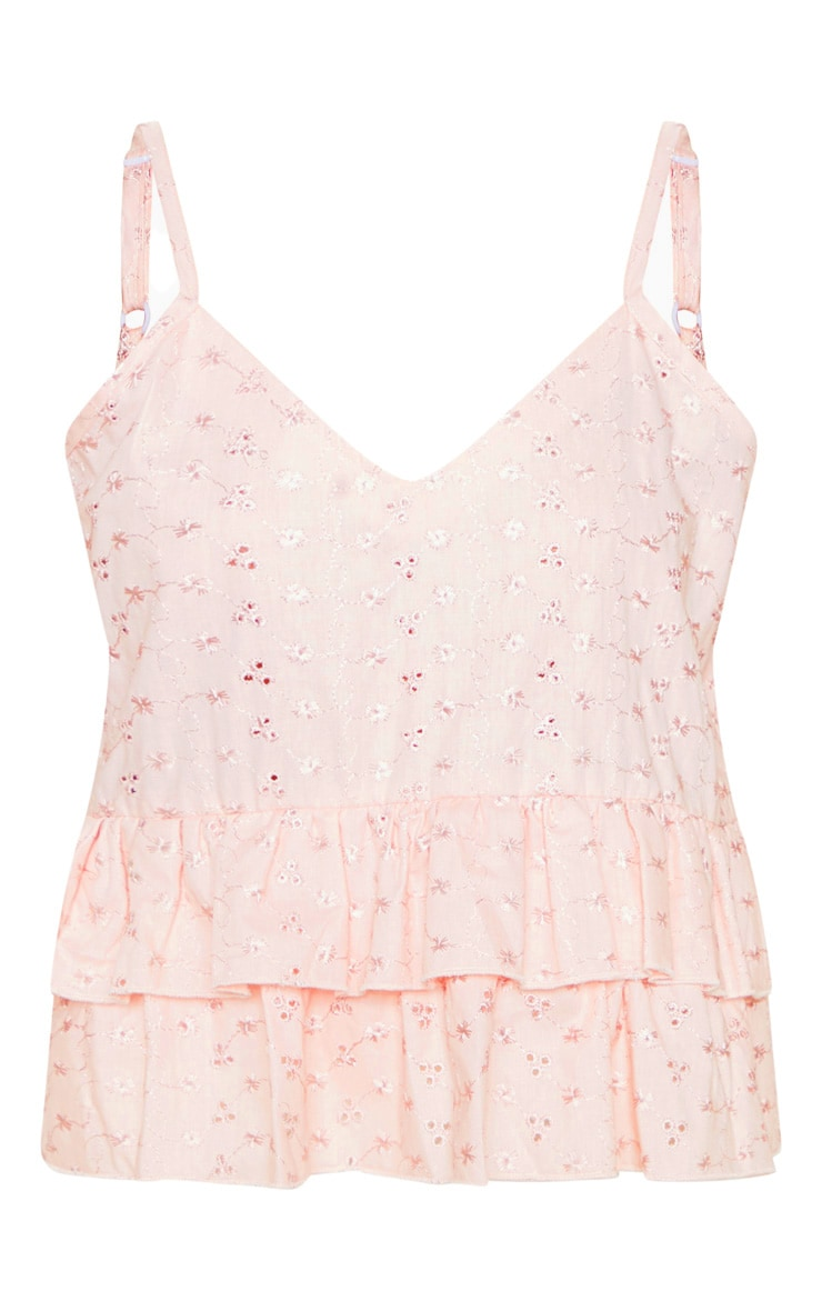 Baby Pink Broderie Anglaise V Neck Peplum Cami  3
