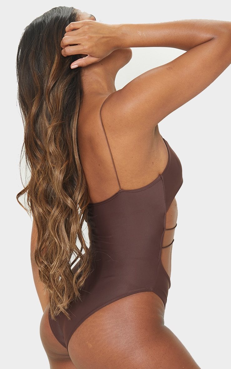 Chocolate Cut Out Elasticated Swimsuit 2