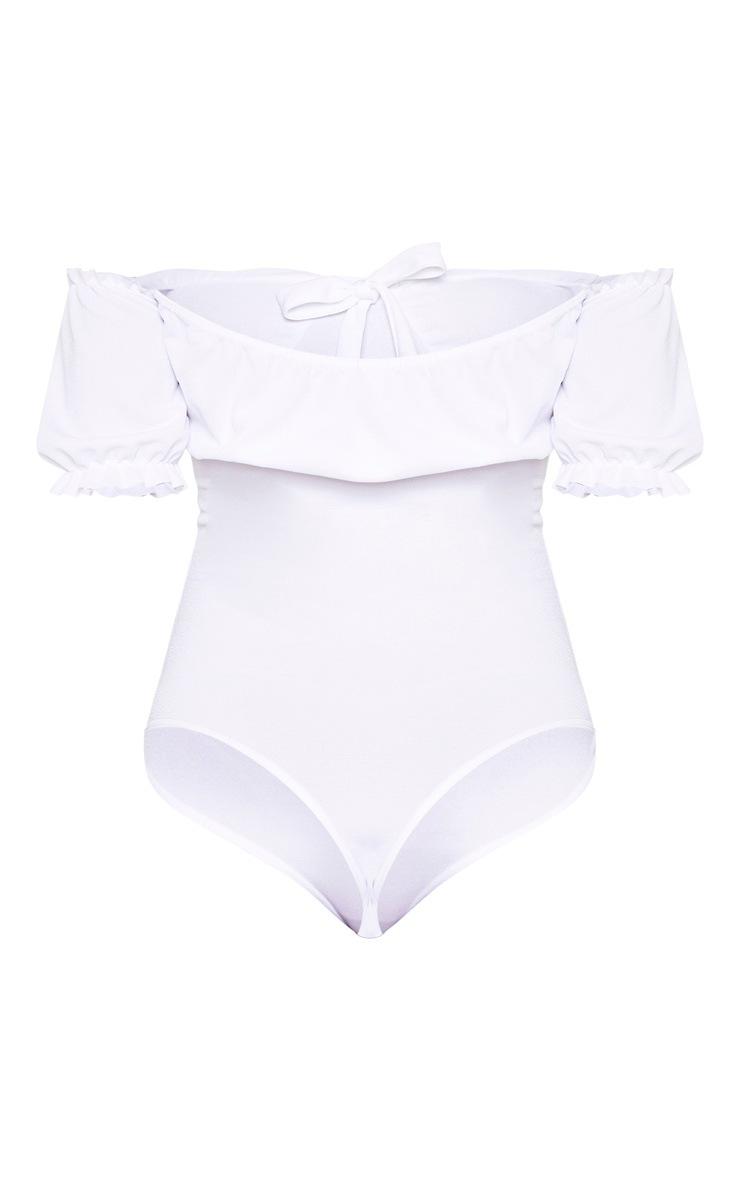 Tall White Bardot Bow Detail Frill Trim Bodysuit 5