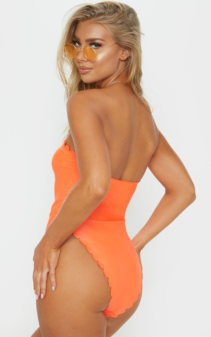 Orange Scallop High Leg Swimsuit 2
