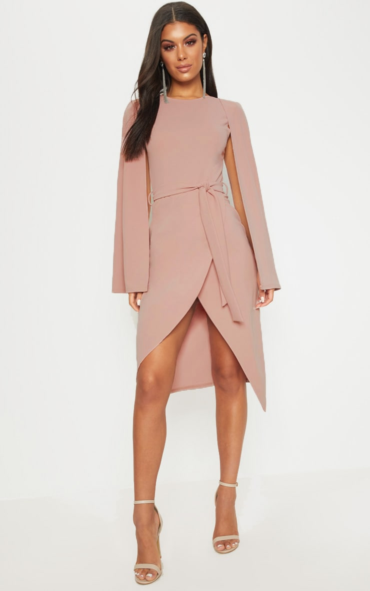 Dusty Pink Cape Style Wrap Midi Dress 1
