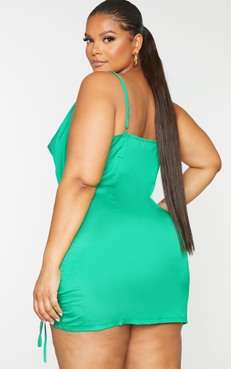 Plus Bright Green Cowl Ruched Front Bodycon Dress 2