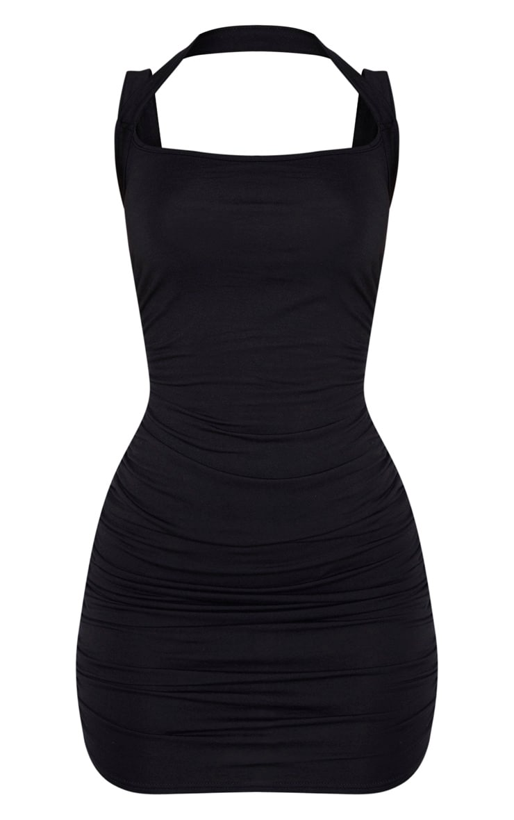 Black Multi Strap Sleeveless Ruched Bodycon Dress 3