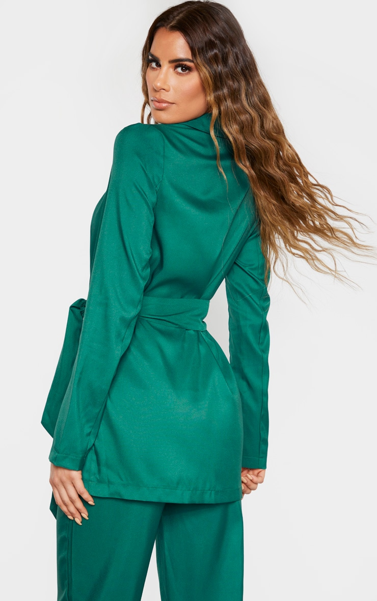 Tall Emerald Green Tied Waist Suit Jacket  2