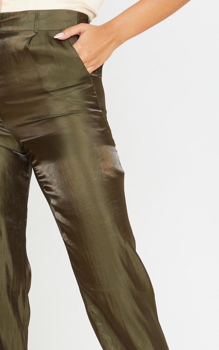 Khaki Shiny Cropped Turn Up Pants 5