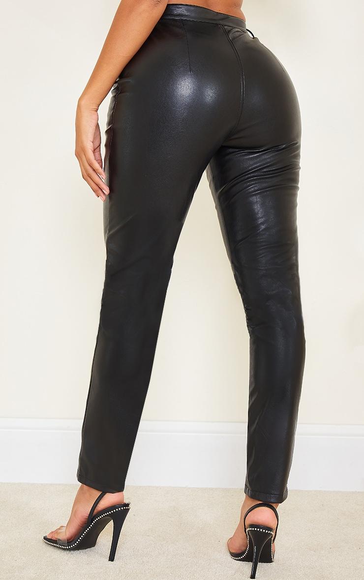 Shape Black PU Cut Out Tie Detail Straight Leg Trousers 3
