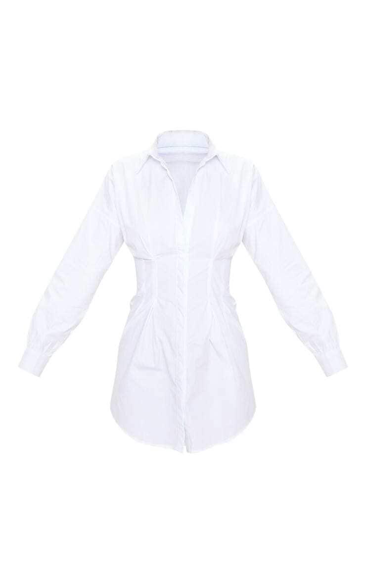 White Long Sleeve Fitted Waist Shirt Dress 5