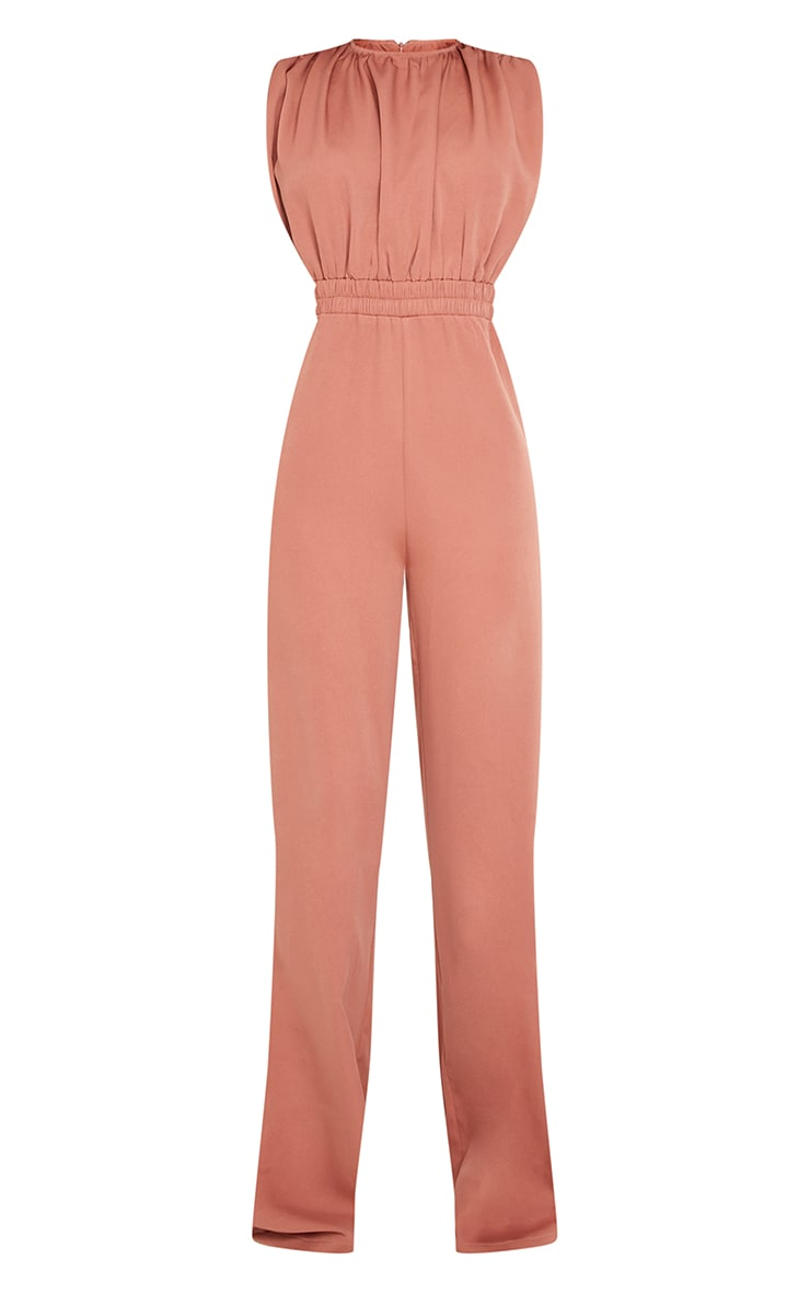 Tall Washed Rust Ruched Shoulder Cinched Waist Wide Leg Jumpsuit   5