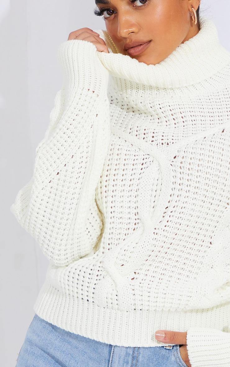 Petite White Oversized Chunky Knit Sweater  4