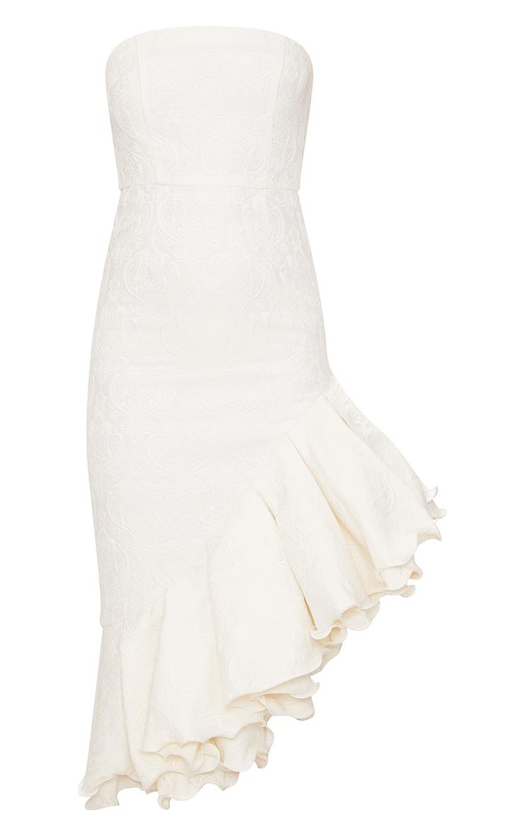 White Jacquard Bandeau Asymmetric Frill Hem Midi Dress 4