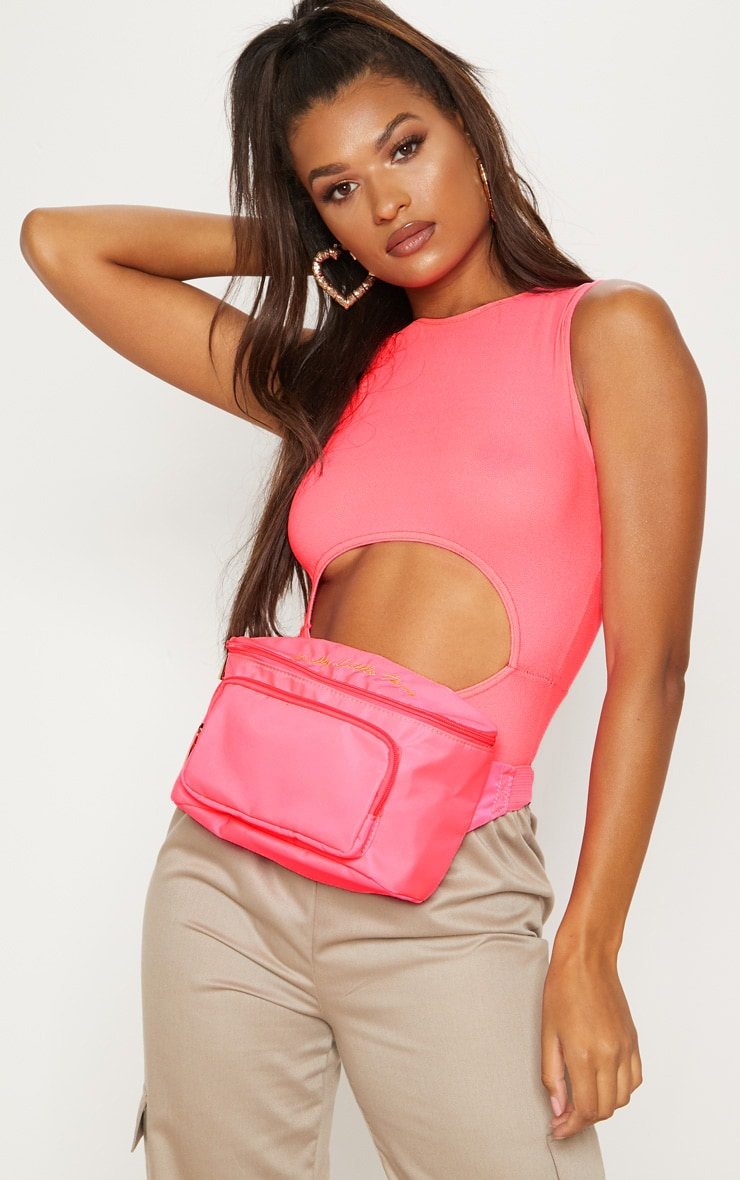 PRETTYLITTLETHING Neon Pink Embroidered Bum Bag 2