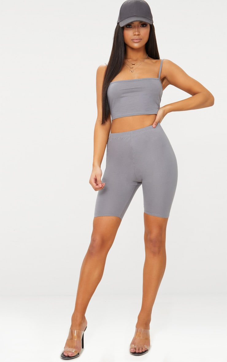 Charcoal Grey Jersey Square Neck Crop Top 4
