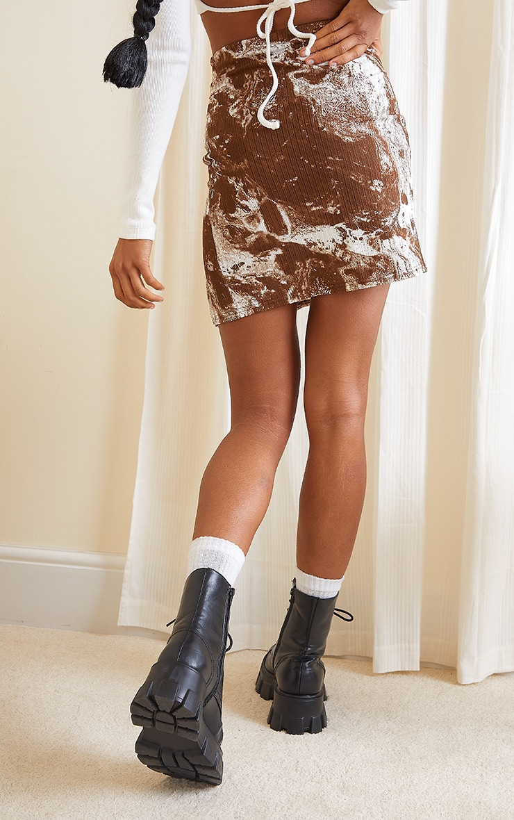 Brown Tie Dye Print Split Front Mini Skirt 3