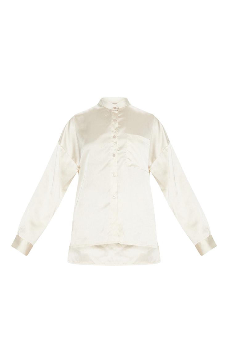 Champagne Grandad Collar Satin Shirt 3