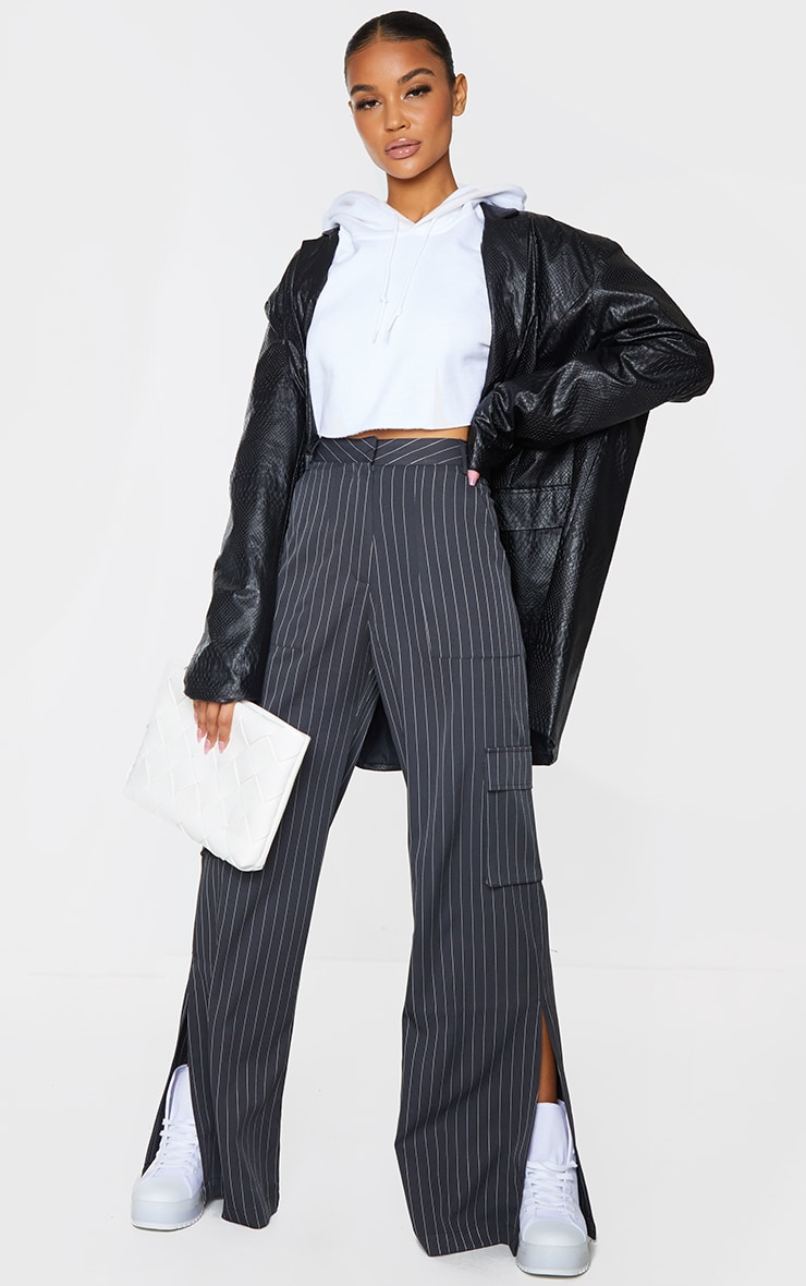 Charcoal Pinstripe Wide Leg Pocket Detail Trousers 1